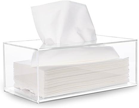hblife Facial Tejido caja dispensadora, soporte acrílico transparente rectangular Servilleta organizador para baño, cocina y oficina sala: Amazon.es: Hogar