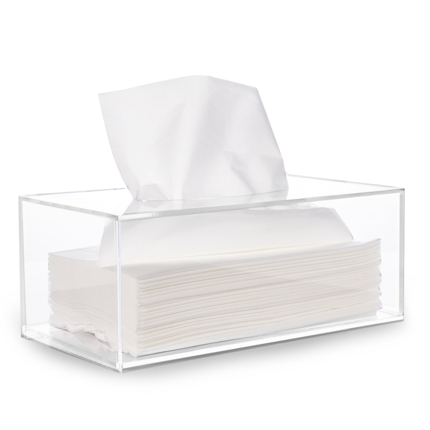 HBlife Facial Tissue Dispenser Box Cover Holder Clear Acrylic Rectangle Napkin Organizer for Bathroom, Kitchen and Office Room