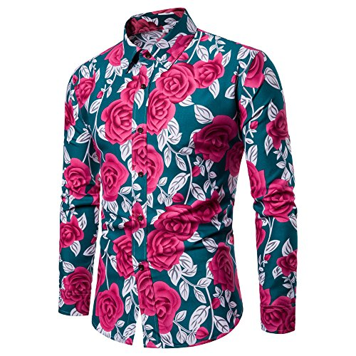 Men Tops Clearance WEUIE Man Fashion Flower Printed Blouse Casual Long Sleeve Slim Shirts Tops (XL,Green )
