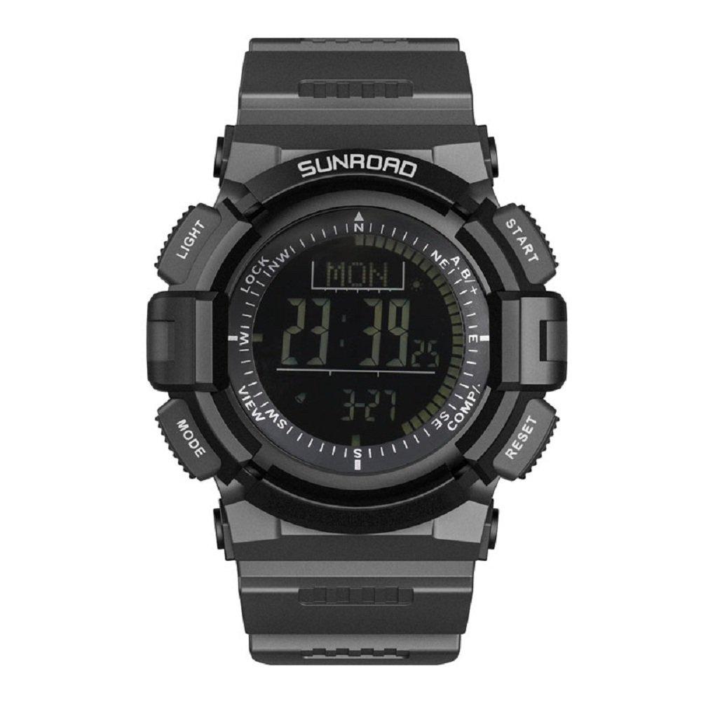 SUNROAD Outdoor Digital Sports Men Altimeter Watch-Barometer Pedometer Compass Stopwatch Weather Forcast 5ATM Waterproof Time-Date Men's Wristwatch