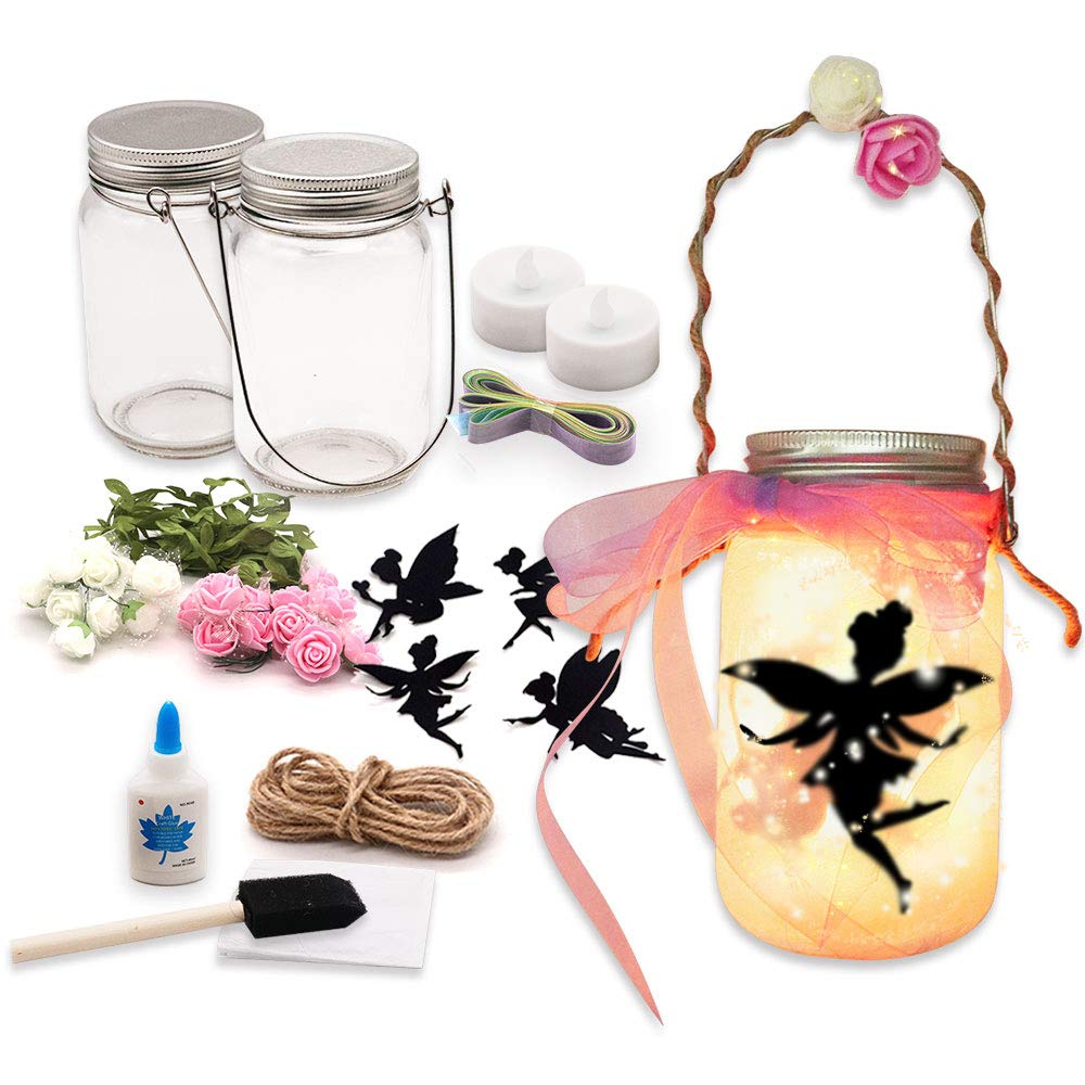 Alritz Fairy Lantern Craft Kit for Kids, DIY FairyJar Night Lights Craft Projects Party Centerpiece Birthday Gift for Girls