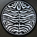 Animal Skin Print Zebra Round Rug Black and Snow White Design 132 (7 feet 3 inches X7 feet 3 inches Round)