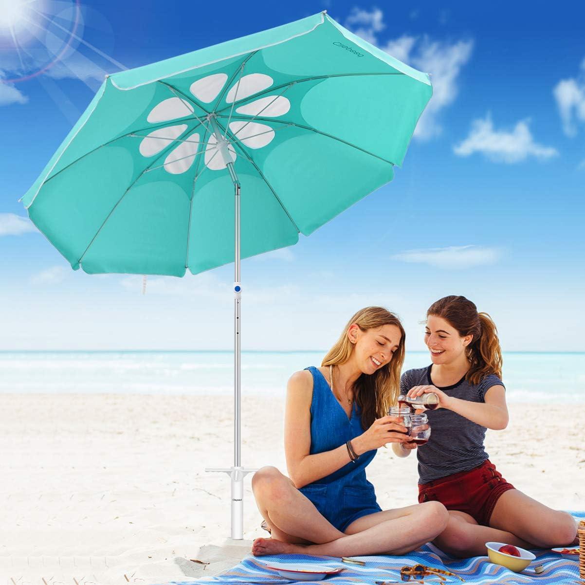 CLISPEED Ombrello da Spiaggia Ancorante per Sabbia Trivella per Sabbia a 3 Spinelli Supporto Universale per Coclea a Pinza
