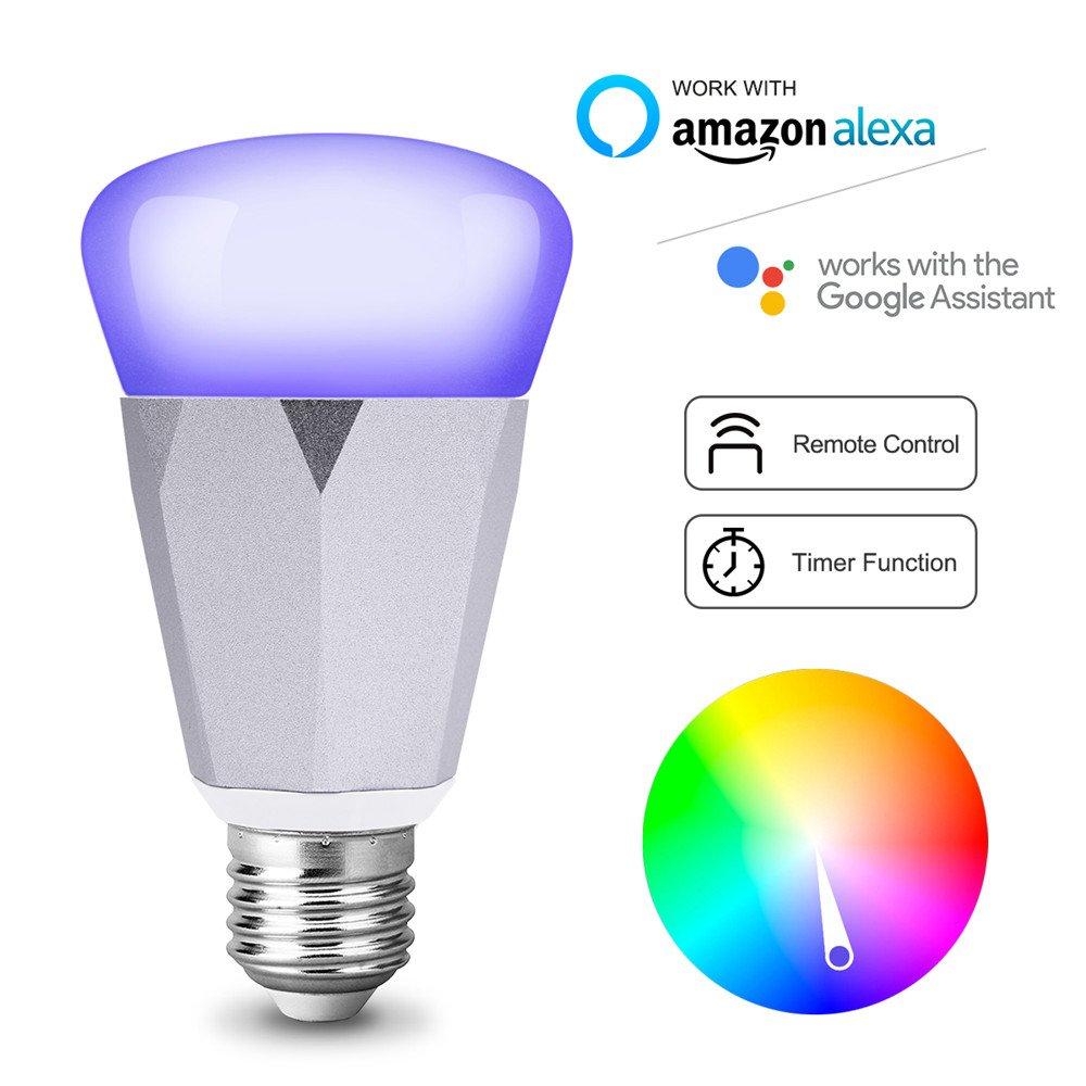 Smart LED WiFi Lampe, dimmbare VIFLYKOO-Wi-Fi-RGB-Leuchte, E27 ...