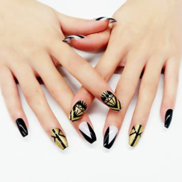 Amazon Yean Coffin False Nails 24pcsset Gold Fake Nails Full