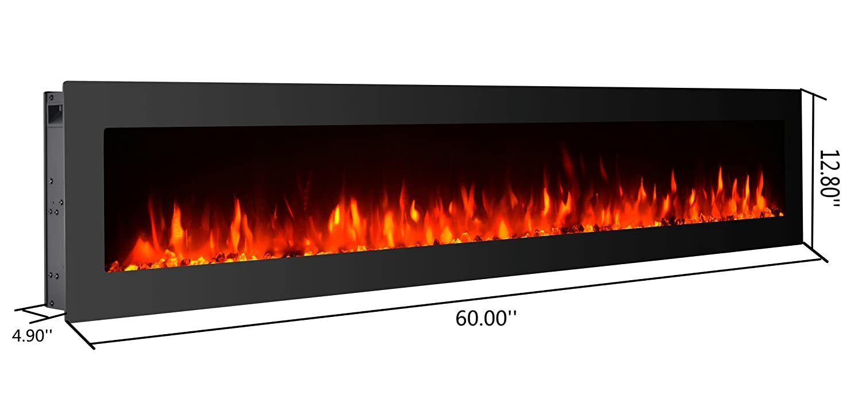 Amazoncom Gmhome 60 Electric Fireplace Wall Mounted Freestanding