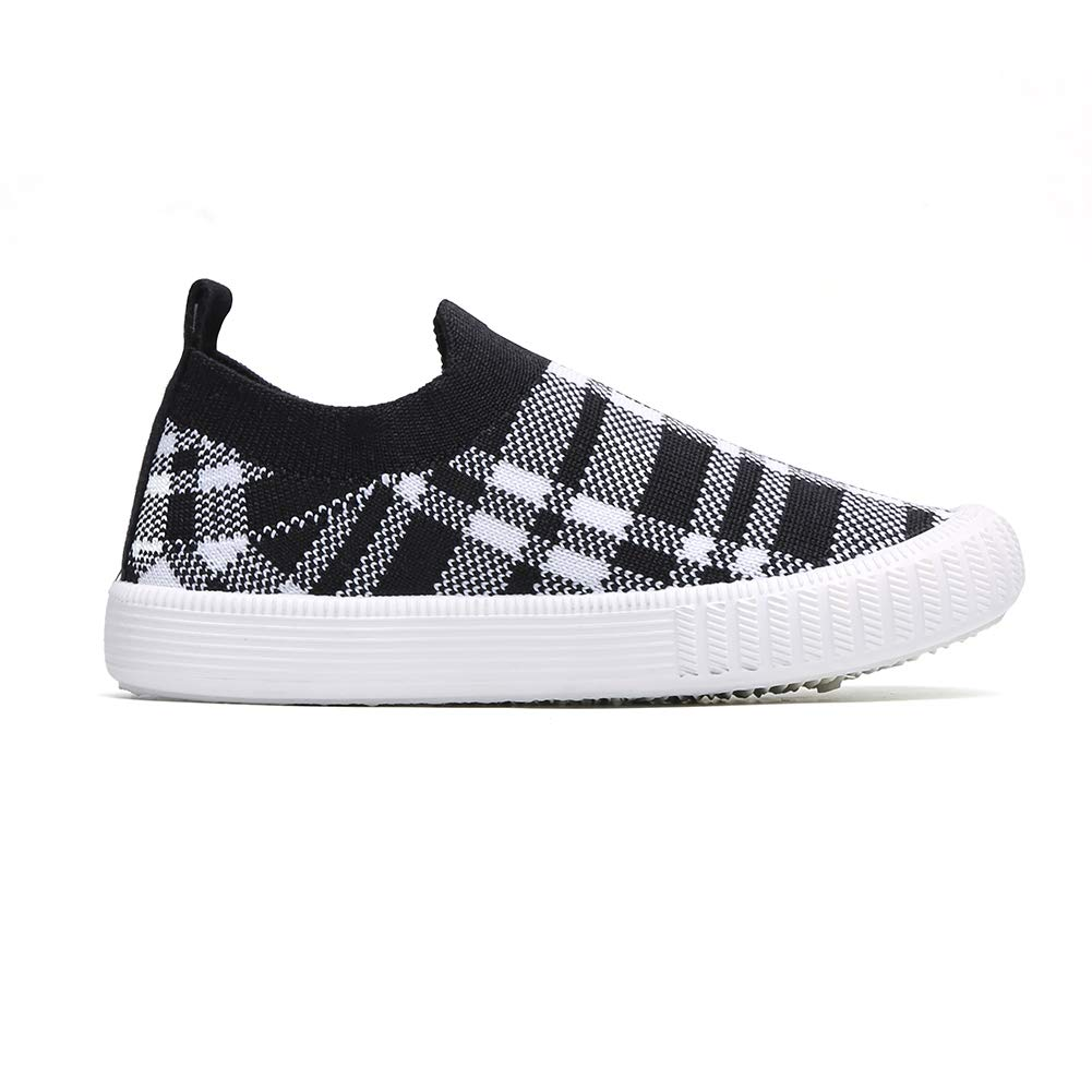 Lightweight Sneakers with Soft Sole Toddler//Little Kid Kids/' Plaid Slip-On Walking Shoes