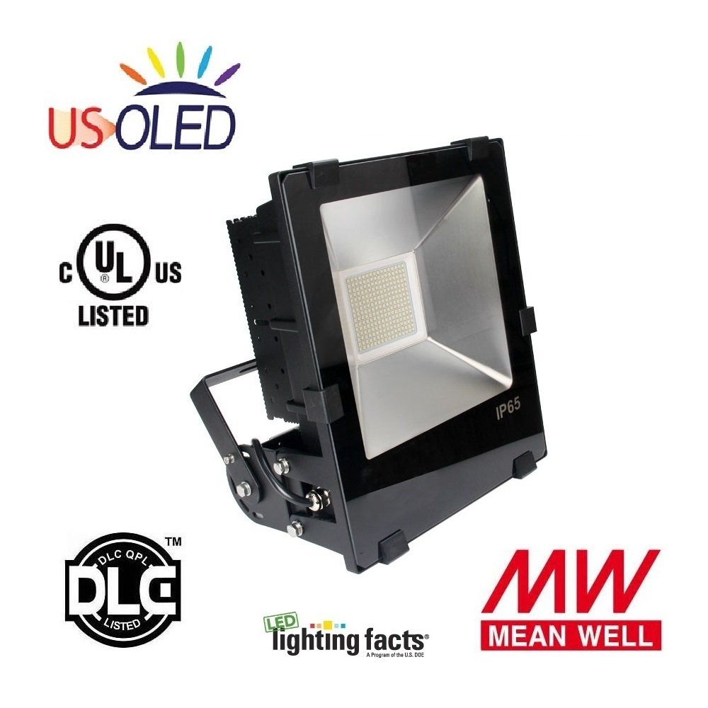 Us oled 250w outdoor led flood light fixturelumiled ledsmeanwell driver29250lmhigh lumens output800900w replacementcool whiteul dlc listedip65