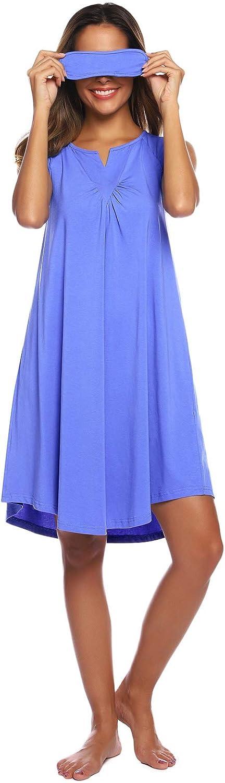 Zexxxy Womens Short Sleeve//Sleeveless Sleepwear V-Neck Nightgown Soft Loose Pockets Sleeping Shirts