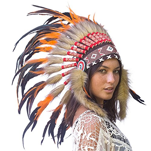 Feather Headdress- Native American Indian Style- Handmade by Artisan Halloween Costume for Men Women with Real Feathers - Orange Rooster