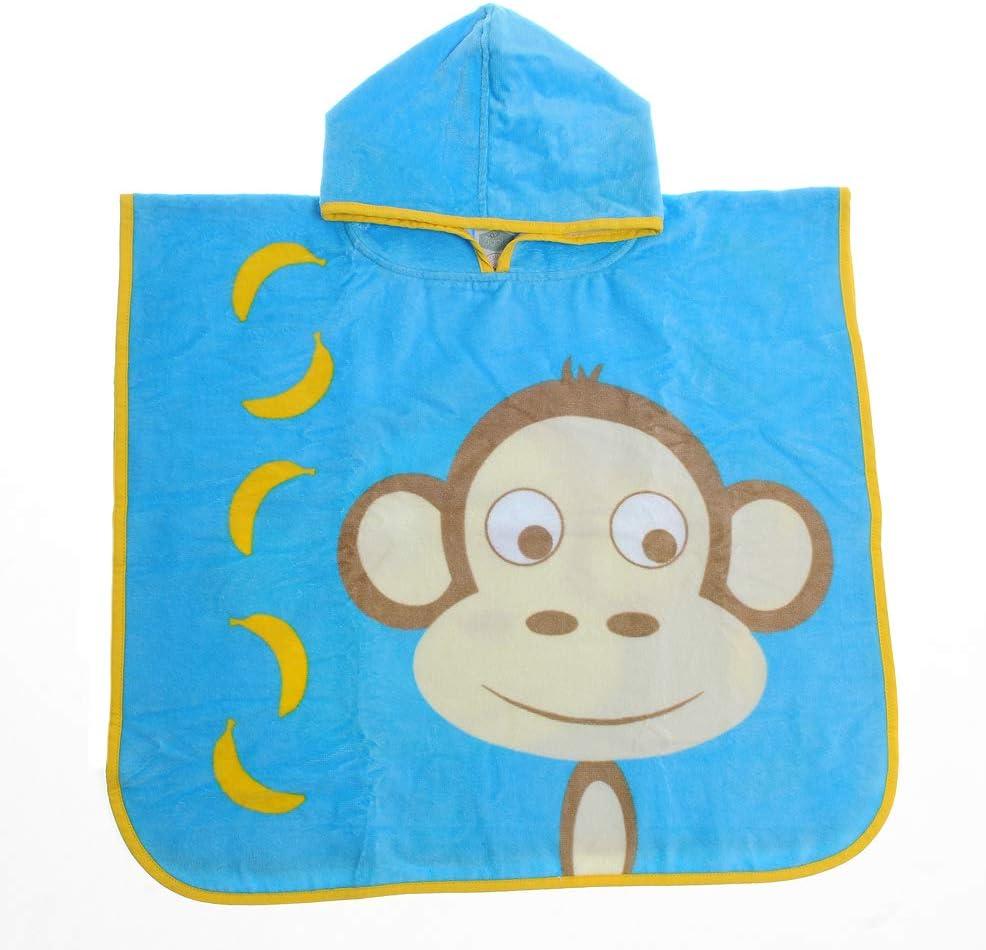 Ziggle Hooded Poncho Swim Bath Towel Toddler Kids (Marley Monkey)