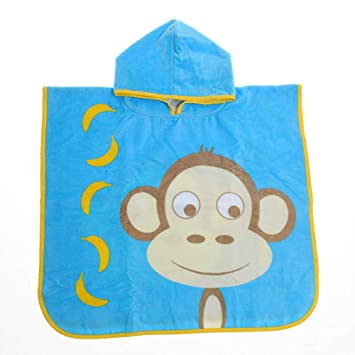 Ziggle Hooded Poncho Swim Towel Baby Toddler Kids Quick Dry (Marley Monkey)