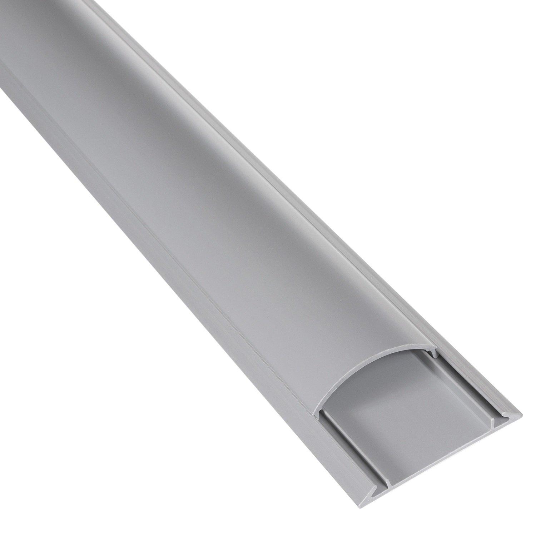 Canaleta semicircular de cable de suelo - autoadhesiva - Maclean MCTV-674, de color gris