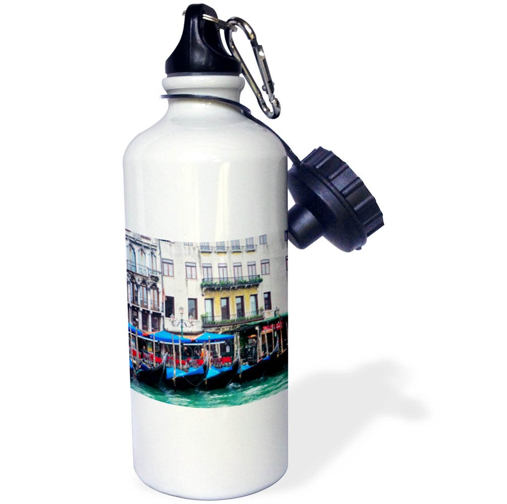3dRose Danita Delimont - Cities - Italy, Venice, Buildings along the Grand Canal with Gondolas parked - 21 oz Sports Water Bottle (wb_277664_1)