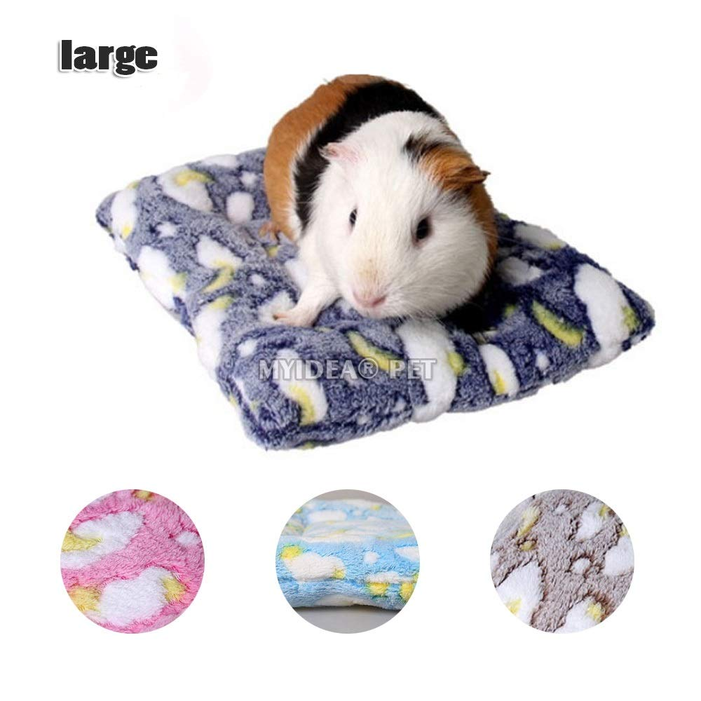 MYIDEA Hamster Bed, Round Velvet Warm Sleep Mat Pad Hamster/Hedgehog/Squirrel/Mice/Rats/Mini Dutch Pig/Chinchilla Cushion (L, Rectangle - Navy Blue)