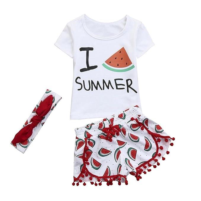 PAOLIAN Conjuntos para bebé Niñas Verano 2018 Camisetas + Pantalones Cortos + Diadema Borlas Impresion de