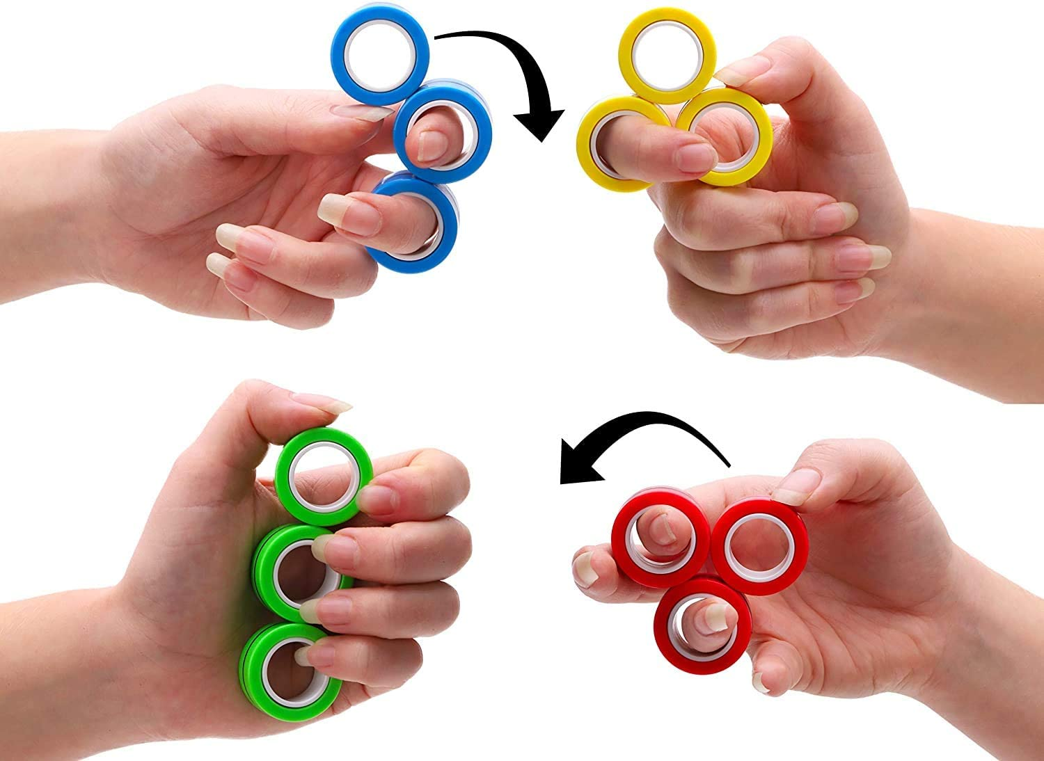 3-Pack Professional Toys with Rotating Magnetic Ring - Finger Toys - Stress Relief (Random)