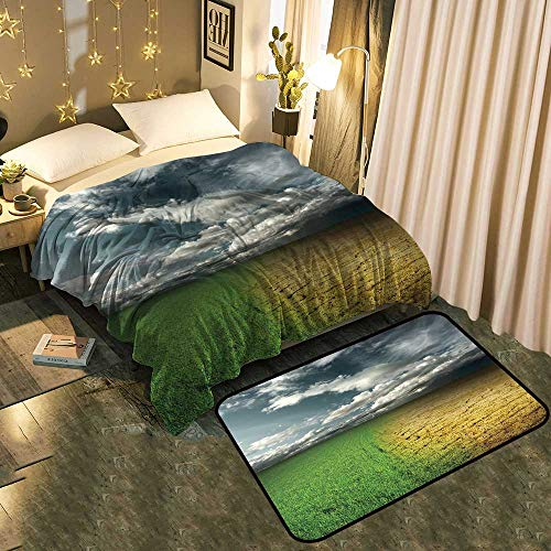 Cracked Desert Floor - UNOSEKS-Home Two-Piece Blanket Floor mat Green Meadow and Cracked Desert Land Under Storm Clouds Add Fashion to Room's Decor Blanket 35