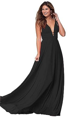 90af6db105 LastBridal Women Ruched Bodice Chiffon Prom Dresses Long V-Neck Formal  Party Gowns LB0231 US