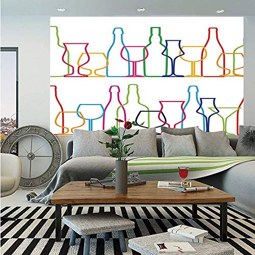 - Wine Huge Photo Wall Mural,Colorful Outline Bottles and Glasses Bar Party Drink Cocktails Modern Fun Collection Decorative,Self-adhesive Large Wallpaper for Home Decor 108x152 inches,Multicolor