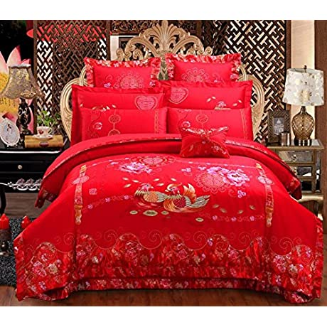 GL G Luxury Red Wedding Pure Cotton Embroidered Home Textiles Comfortable Soft Bedding Quilt Cover 1PC Bed Sheet 1PC Pillowcase 2PCS F 2 0 M Beds