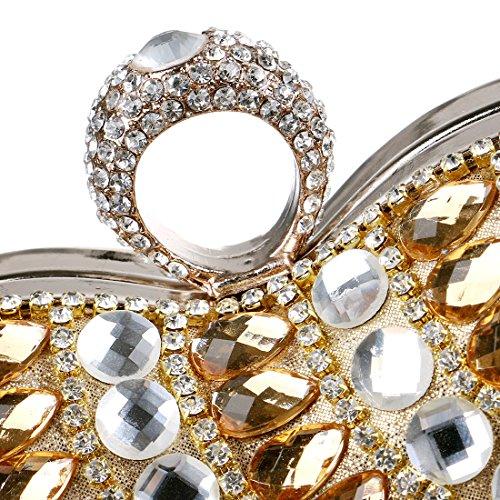 Long Silver Heart Diamond Cute Shaped Bag Tassel Womens Clutch with Evening UFZTq