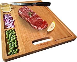 """HHXRISE Organic Bamboo Cutting Board For Kitchen, With 3 Built-In Compartments And Juice Grooves, Chopping Board For Meats Bread Fruits, Butcher Block, Carving Board, BPA Free (M-15.2x10.5"""")"""