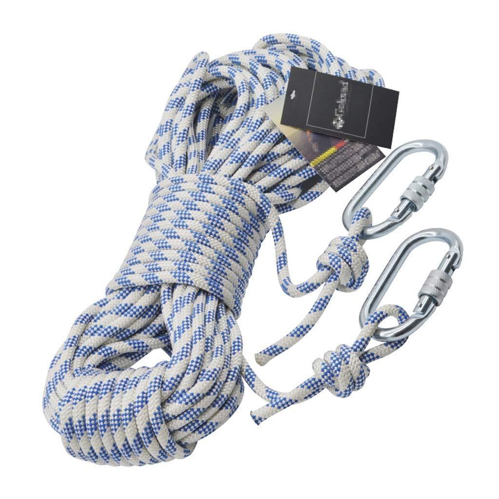 SCJ Corde d'escalade, Ligne de Vie en Nylon Statique extérieure épaisse de 8 mm, Dispositif de Survie résistant à l'usure, résistant à l'usure, 10m, 20m, 30m, 40m, 50m de Long (Taille  20m) 20m