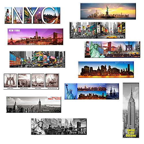 Set of 12 New York Panoramic Photo Magnets NYC 5x1.6 inch - Pack of 12 (York New Magnet Refrigerator)