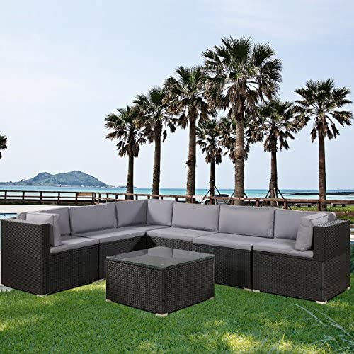 FLIEKS 7-Piece Outdoor Furniture Sets Wicker Patio Sectional Sofa Garden Conversation Set