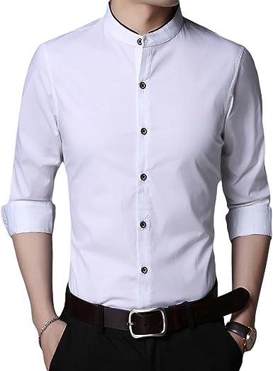 HiLY - Camisa de Esmoquin para Hombre, Cuello de Tira, Ajustada, Manga Larga, de algodón, para Hombre - Blanco - Large: Amazon.es: Ropa y accesorios