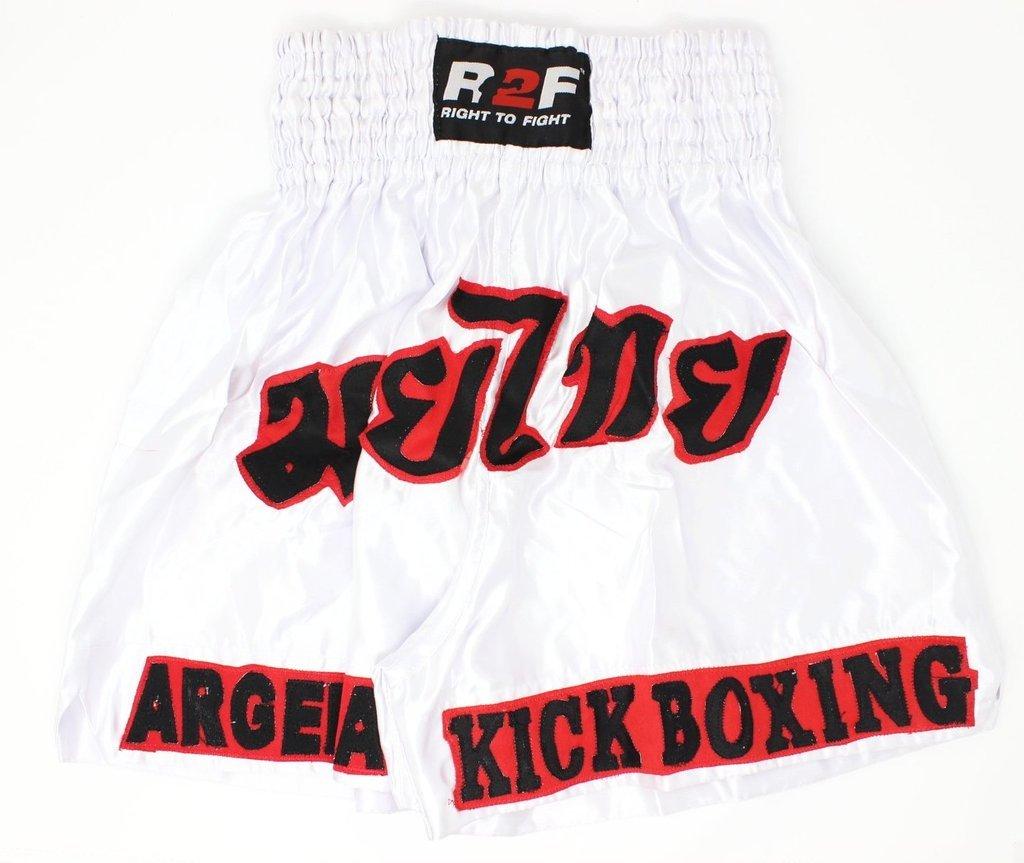 R2F Sports Bianca Boxe Pantaloncini Formazione Combattente Trunks Muay Thai MMA MaArti Marziali Kickboxing Bottoms