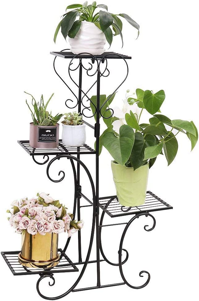 unho Plant Stand Flower Pot Shelf Indoor 4 Tier Iron Stand Outdoor Displaying Plant Holder for Garden Patio Decors, Black
