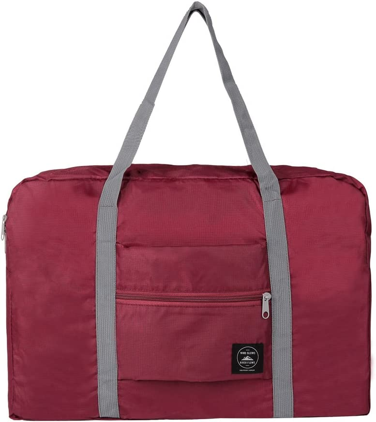 GZMM Foldable Travel Duffel Bag Luggage Sports Gym Water Resistant Oxford Wine red