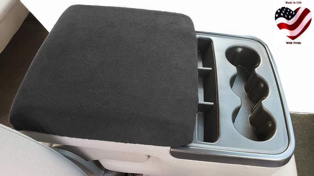 Car Console Covers Plus Made in USA Fleece Armrest Cover for Fold Down Center Console Designed for Chevy Silverado and All GMC SUV Models 2014-2018 Black