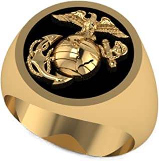 product image for Solid 14K Yellow Gold Round Marine Corps Signet Ring with Black Background