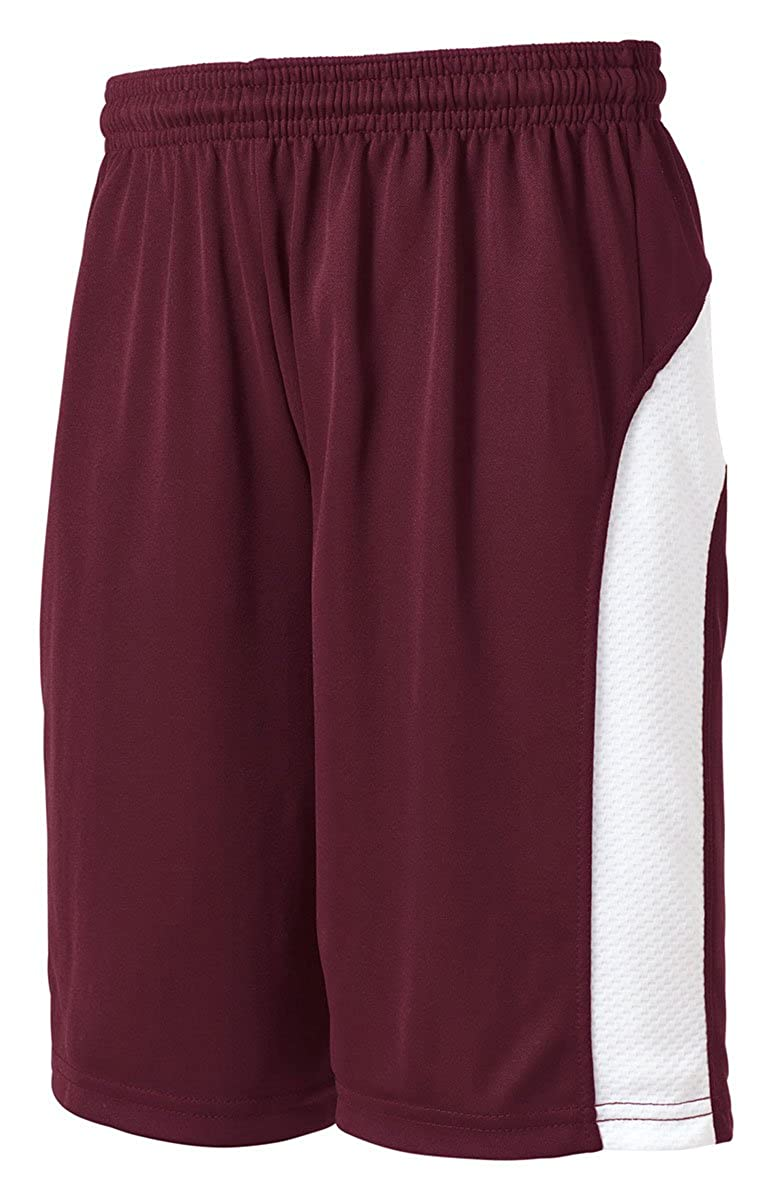 Maroon//White Sport-Tek YT479 Youth Dry Zone Colorblock Shorts XS