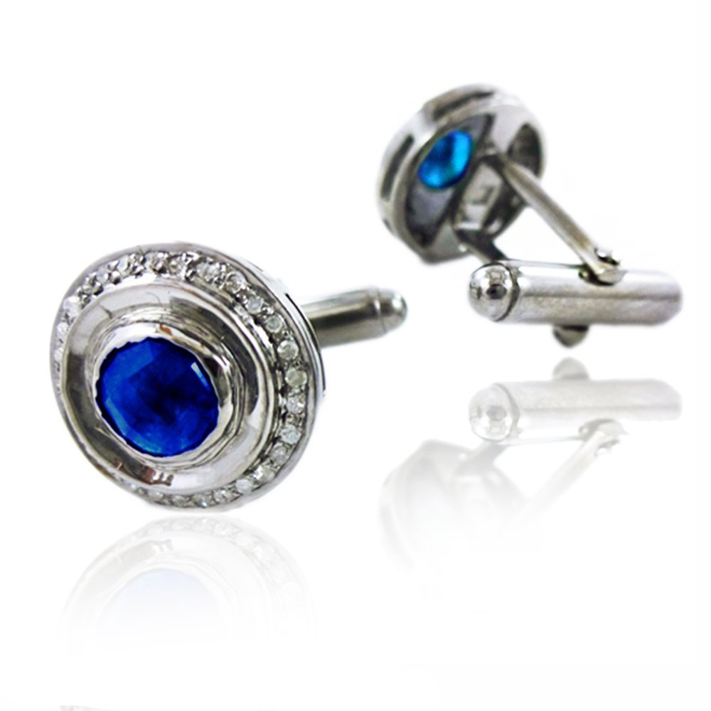 Blue Sapphire Gemstone Cuff links 925 Silver Pave Diamond Men's Jewelry Supplier