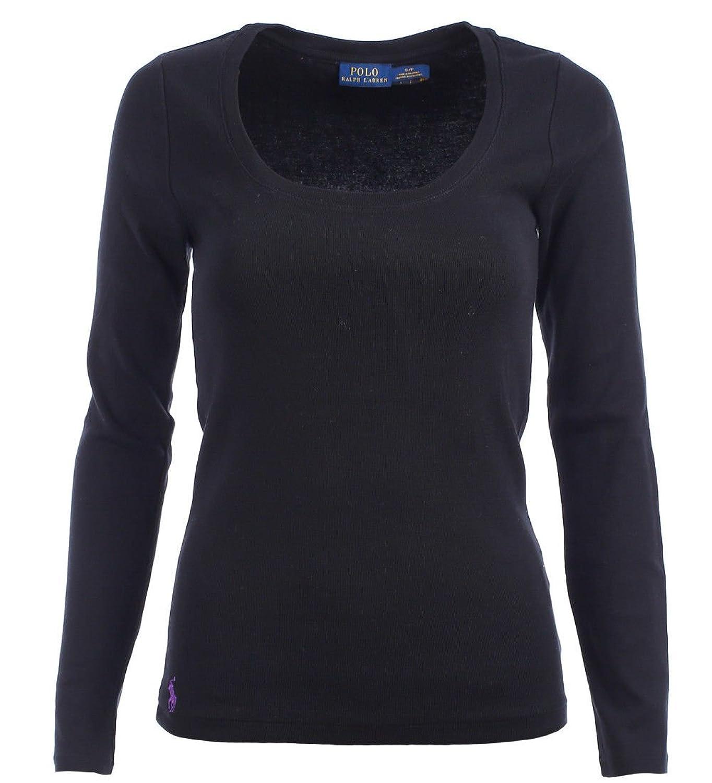 f46d31e22e2752 gut Ralph Lauren Polo Damen Rundhals Langarm Shirt Longsleeve Damenshirt  Black Größe L