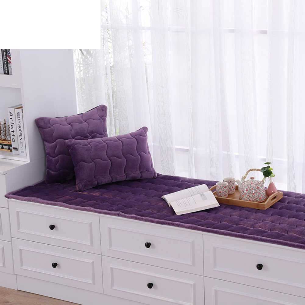 AMYDREAMSTORE Bay window cushion,Thick plush floating window pad window sill mat pastoral anti-slip tatami cushion cover seats blanket balcony-D 60x180cm(24x71inch)