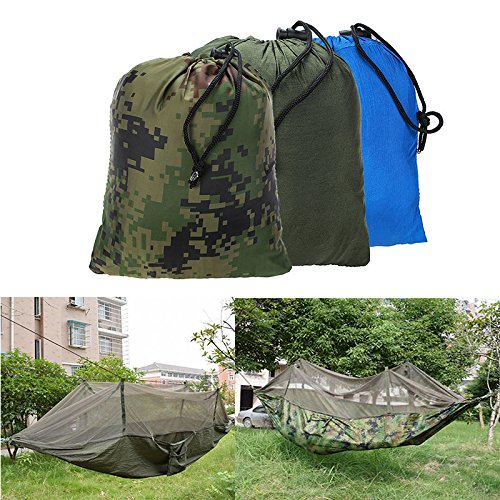 Outdoor Jungle Camping Mosquito Net Hammock Hanging Swing Bed Nylon Sleeping Bed ( Blue - Mall Superstitions