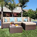 Patiorama 5 Pieces Outdoor Patio Furniture Sets Rattan Sofa Wicker Set, Outdoor Backyard Porch Garden Poolside Balcony Furniture Sets (Brown and Beige)