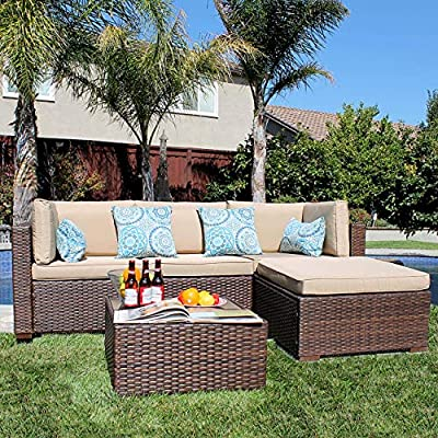 Patiorama 5 Pieces Outdoor Patio Furniture Sets Rattan Sofa Wicker Set, Outdoor Backyard Porch Garden Poolside Balcony Furniture Sets (Brown and Beige)