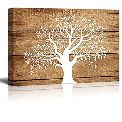 Artistic Abstract Tree on Vintage Wood - Canvas Art Wall Art -24