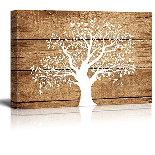 Wall26 - Canvas Prints Wall Art - Artistic Abstract Tree on Vintage Wood Background - 24