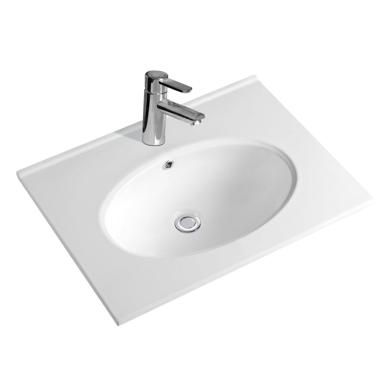 NEG Waschbecken Uno59E Breite 60cm Einbau-//Aufsatz-Waschschale//Waschtisch mit breitem Rand und Nano-Beschichtung