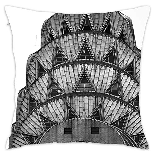 Lovwepilo Chrysler Building Art Deco Throw Pillow Cover Decorative Square Pillow Covers Square Cushion Case Sofa Durable Modern Stylish (18