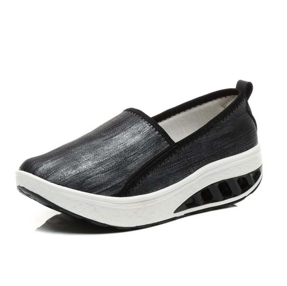 Zapatos atléticos Casuales de Mujer Muffins y Zapatos de batir de Suela Gruesa Zapatos de Madre de Moda Negro/Blanco Talla 35-40 35 EU|Negro