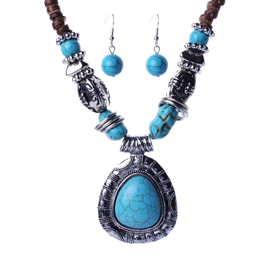 Qiyun Tibet Silver Blue Turquoise Stone Pendant Wooden Beaded Necklace Earring Argent Pierre Bleu Turquoise Bois Collier W005N1881