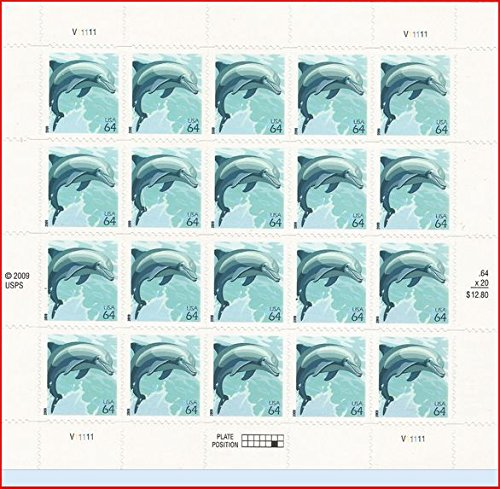 Wildlife Dolphin Sheet of Twenty 64 Cent Stamps Scott 4388